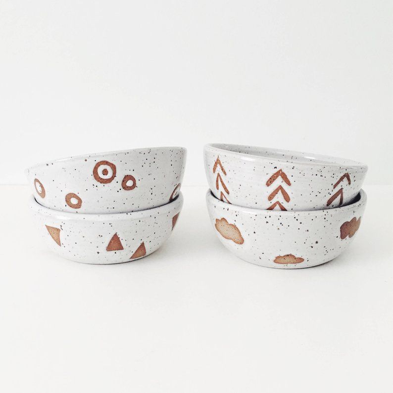 ice cream white ceramic bowls pottery bowl speckled white cereal bowl with wax resist designs Set of Four Ceramic Mix and Match Bowls