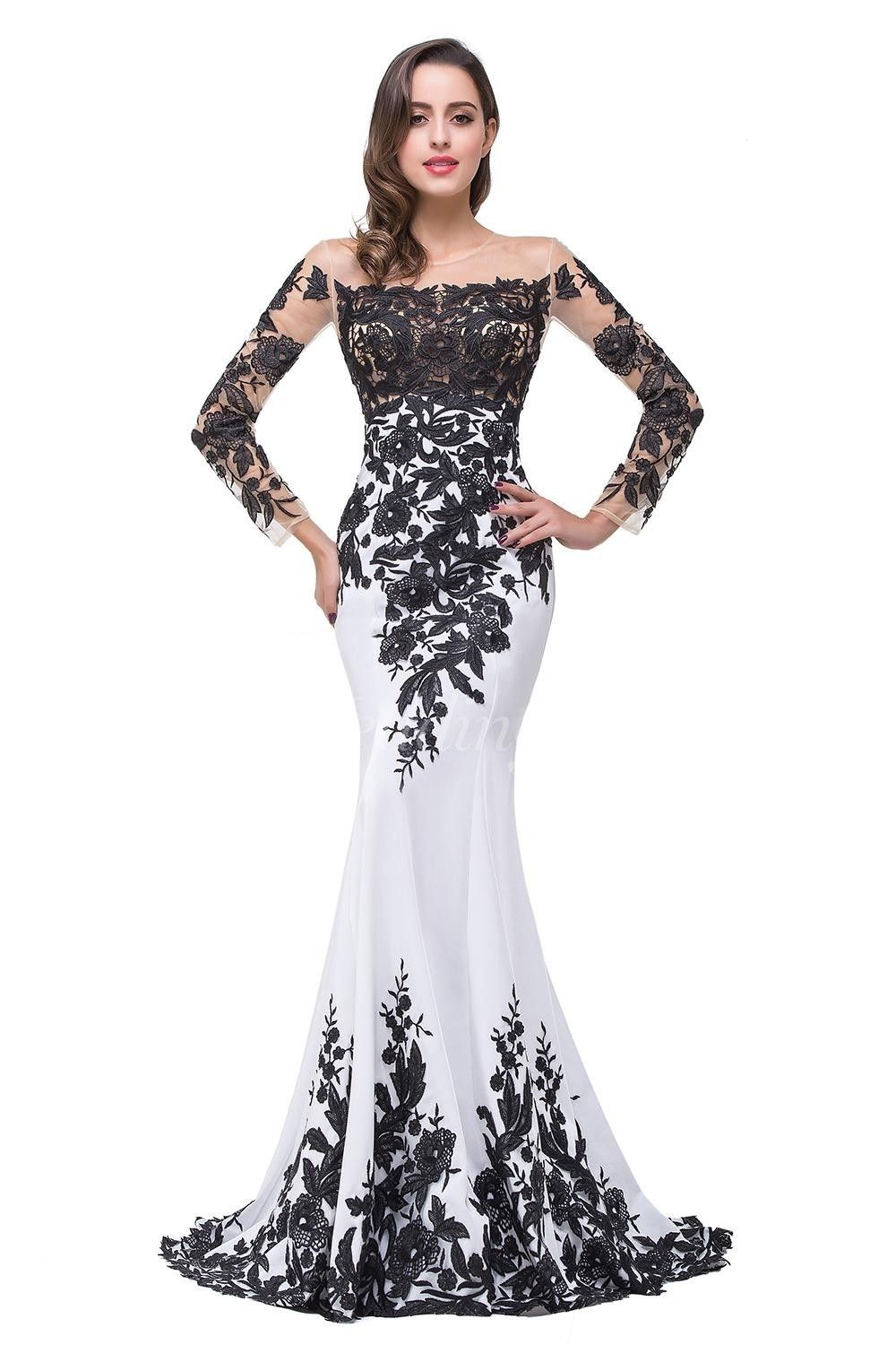 53955652f0df3  114.65-Glamorous Long Sleeve Mermaid 2016 Black and White Evening Dress  with Sleeves. Mother