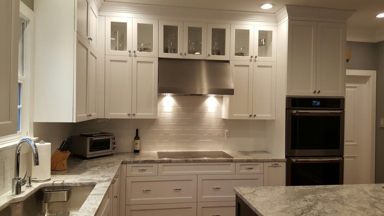 White Full Overlay Cabinetry Recessed Panel Door Style Upper Wall Cabinets Are 48 High With Either Two Doors Or Kitchen And Bath Beautiful Kitchens Kitchen