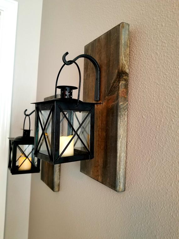 Rustic Hanging Lantern Sconces Wall Decor Farmhouse Decor
