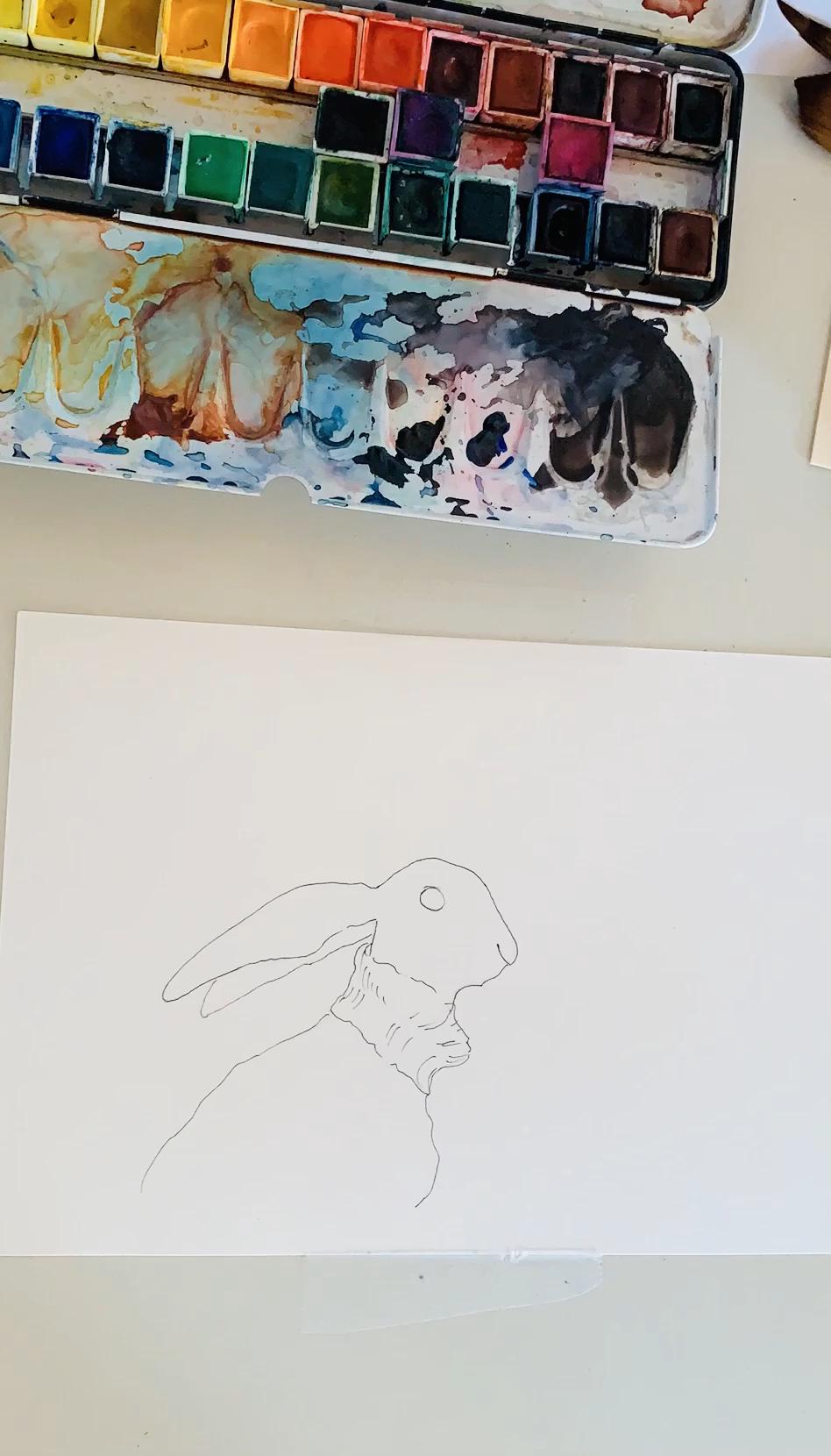 Photo of Malen Sie den Osterhasen mit einem Rollkragenpullover und Aquarellfarben