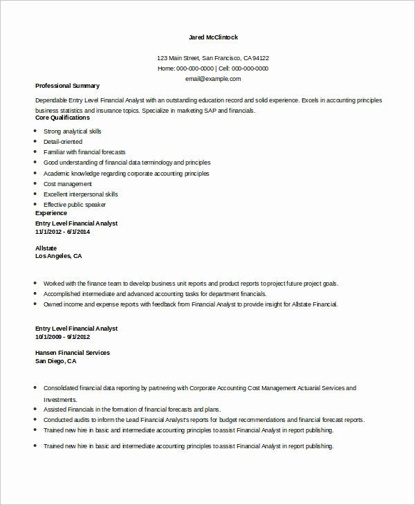 entry level analyst resume best of sample financial