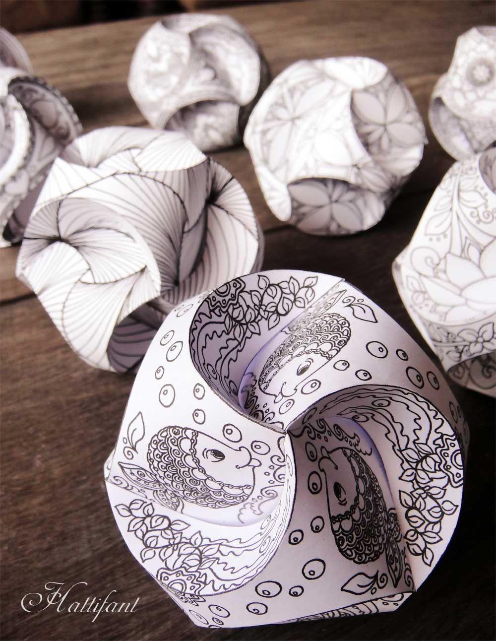 Hattifant triskele paper globes paper craft paper pinterest papier origami und papierkunst - Papierkugeln basteln ...