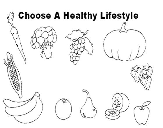 choose healthy food lifestyle coloring page for kids