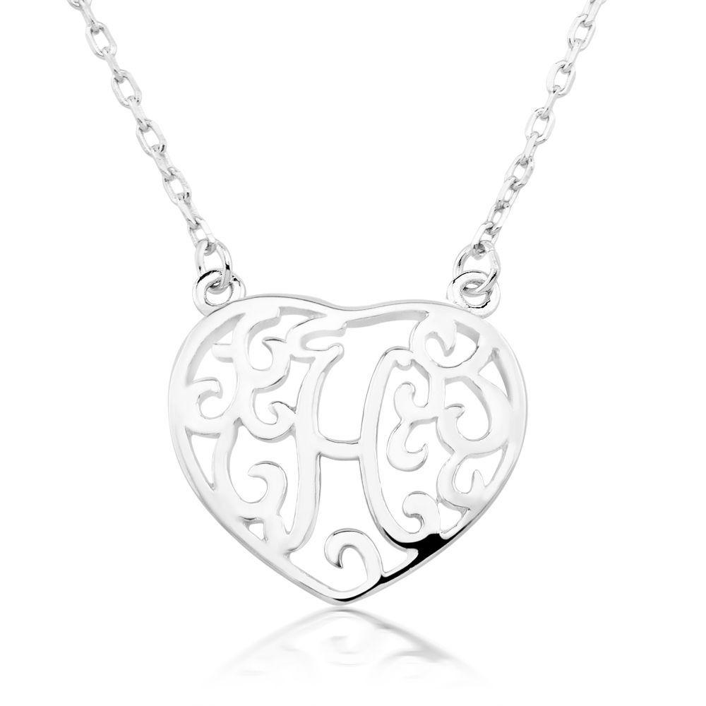 Beverly hills rhodiumplated sterling silver heartshaped monogram