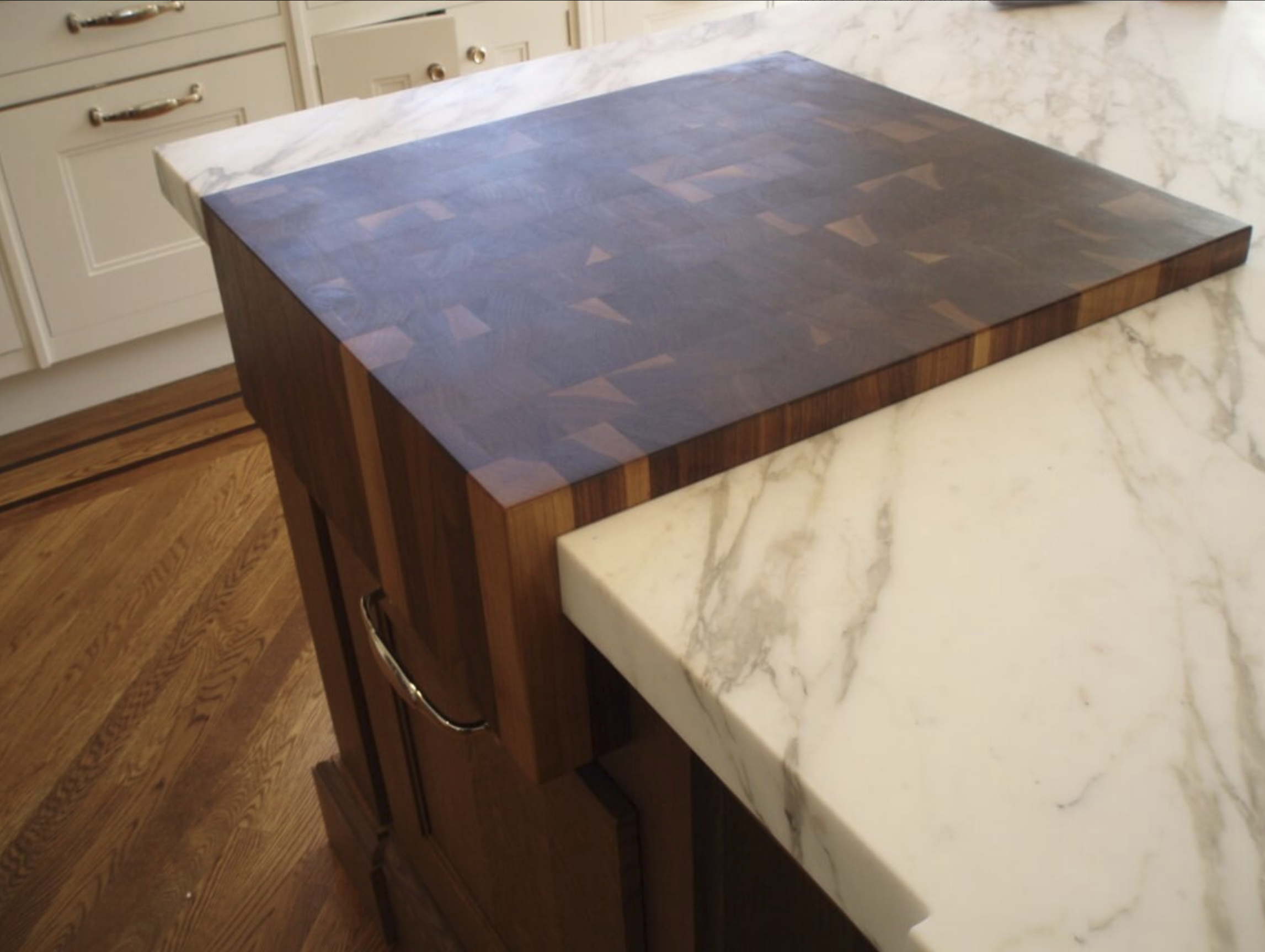 End Grain Walnut Butcher Block Inset Into Marble Countertop Diy