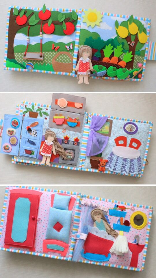 Quiet book Dollhouse Girl activity book Personaliz