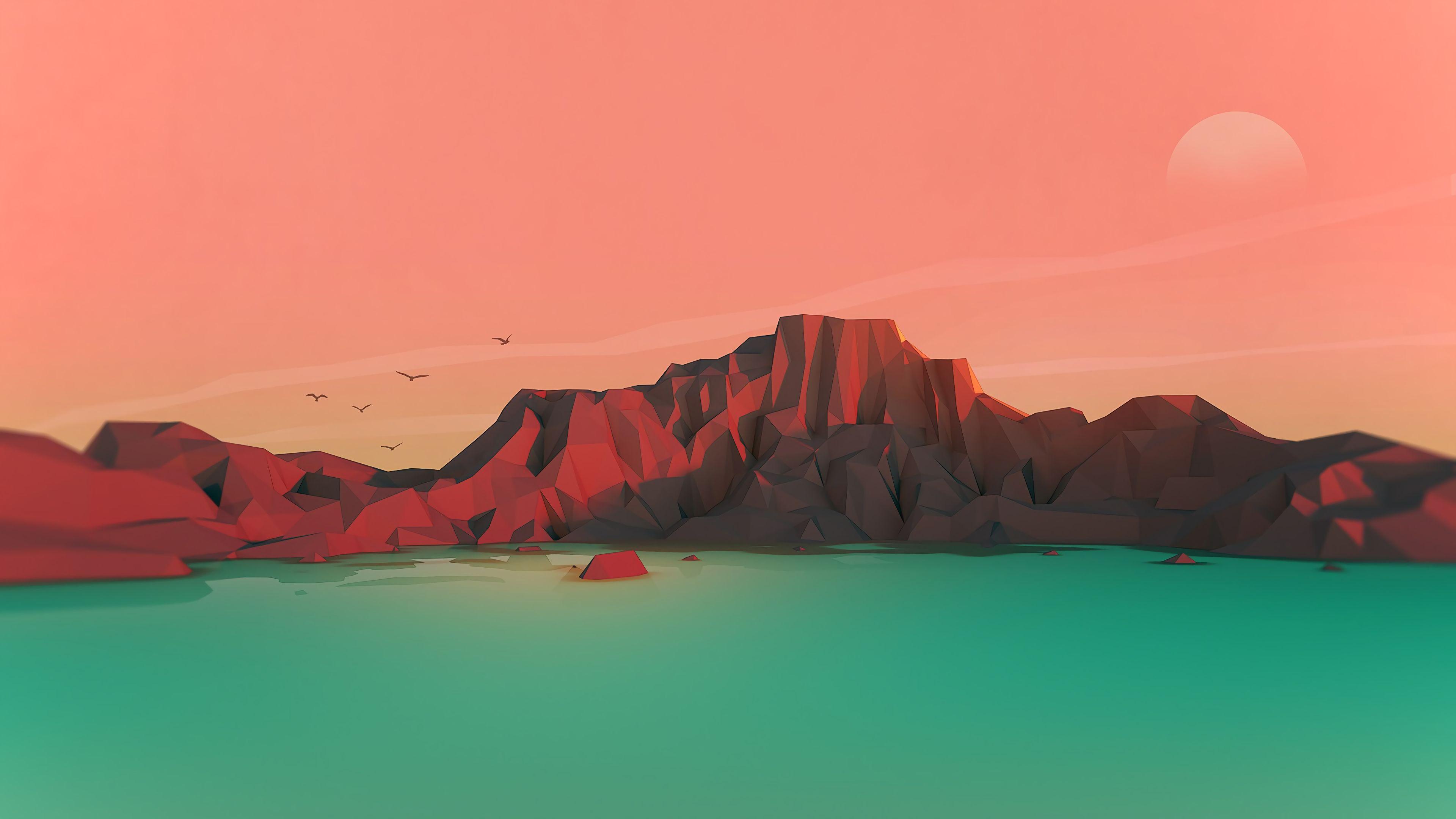 Landscape Low Poly Minimalist Minimalism 4K 21660