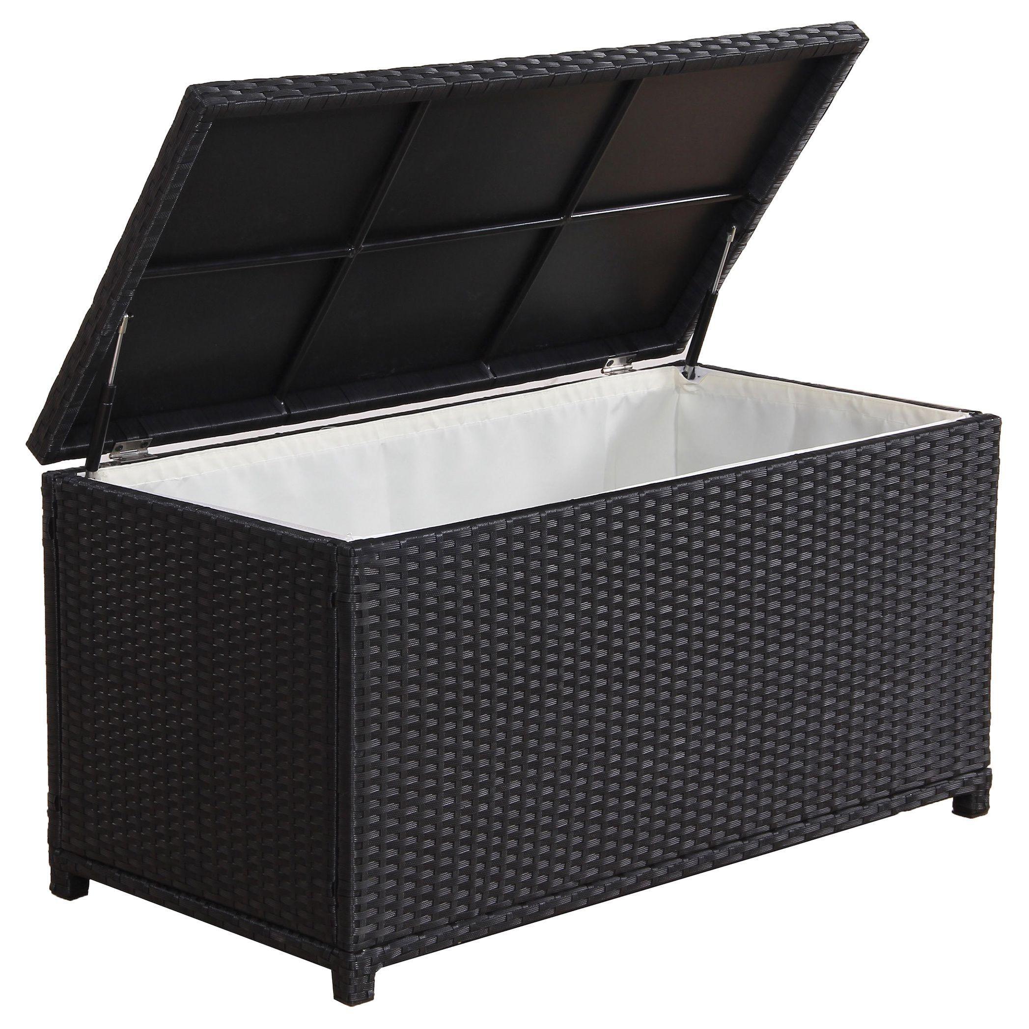 BroyerK Outdoor Black Wicker Cushion Storage Box black Patio