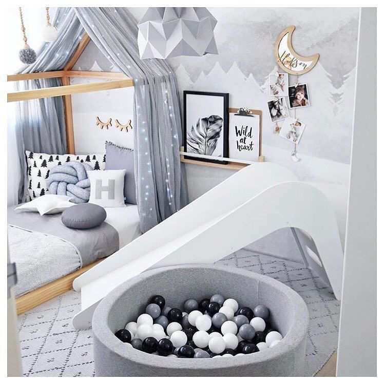 How Amazing Is This Kids Indoor White Slide We Love The Addition Of A Ball Pit To A Kids Space S Bedroom Decorating Tips Kids Bedroom Furniture Slide Bedroom