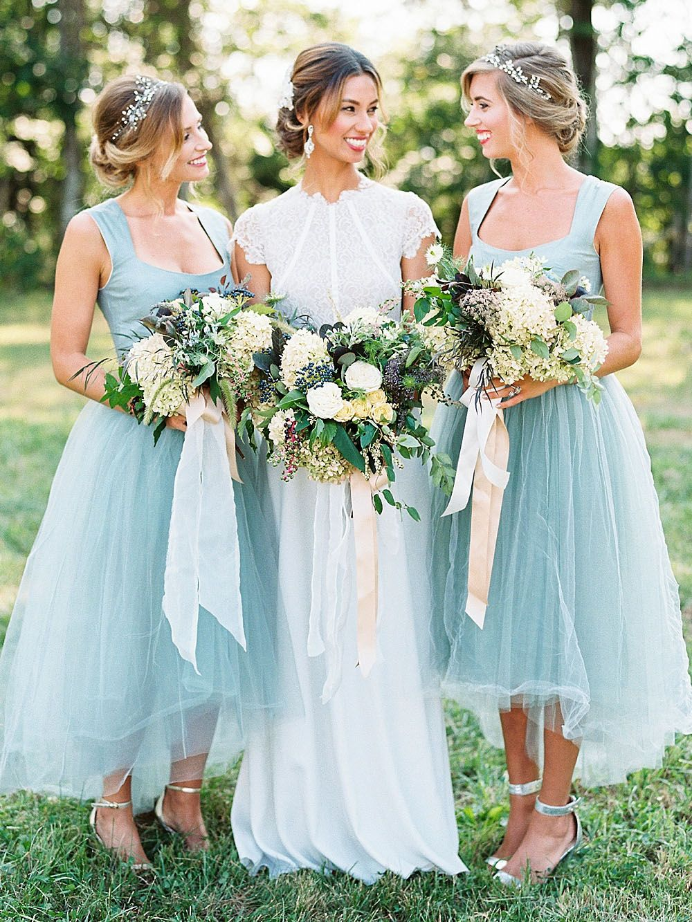 Elegant A-line High Low Tulle Bridesmaid Dress | Sugerdress ...