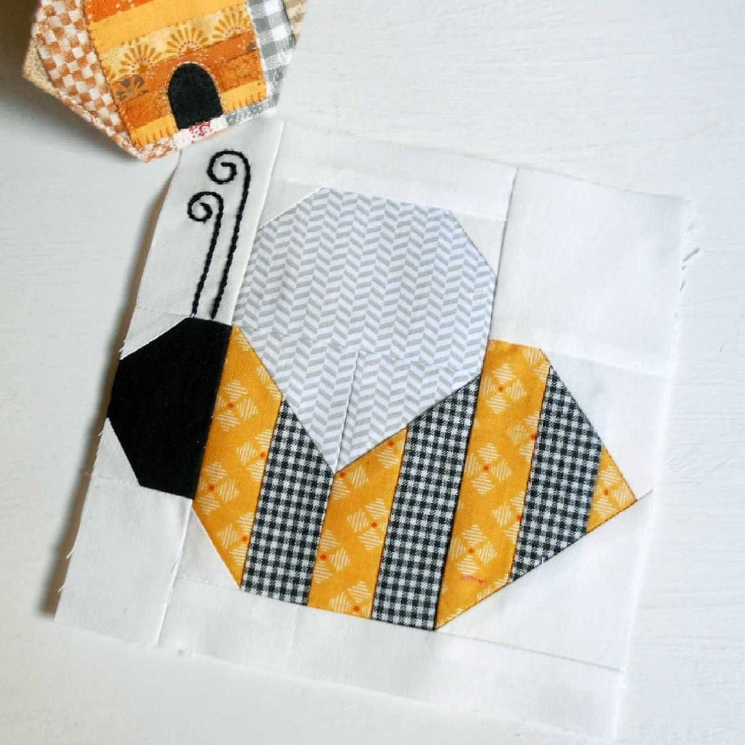 "Block 96 - Bee - from Bee Lori's Spelling Bee book - 6"" patchwork block."