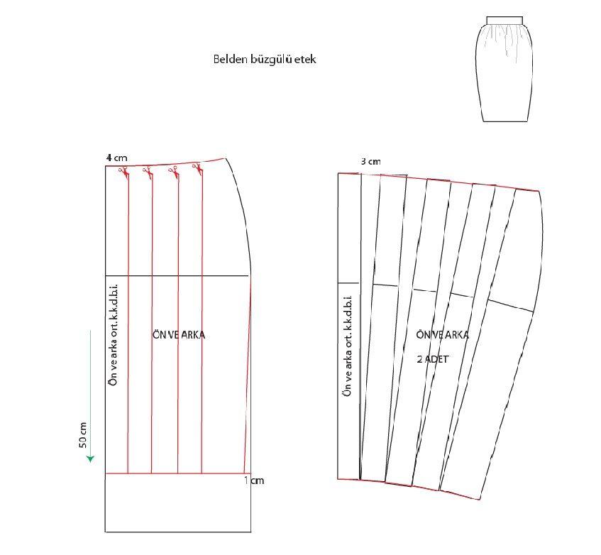 işlem basamakları   1. etek boyu 50 cm ayarlanır.   2.yeni etek boyu yan dikişten 1 cm içeriye girilerek etek ucu genişliği daraltılır.   3...