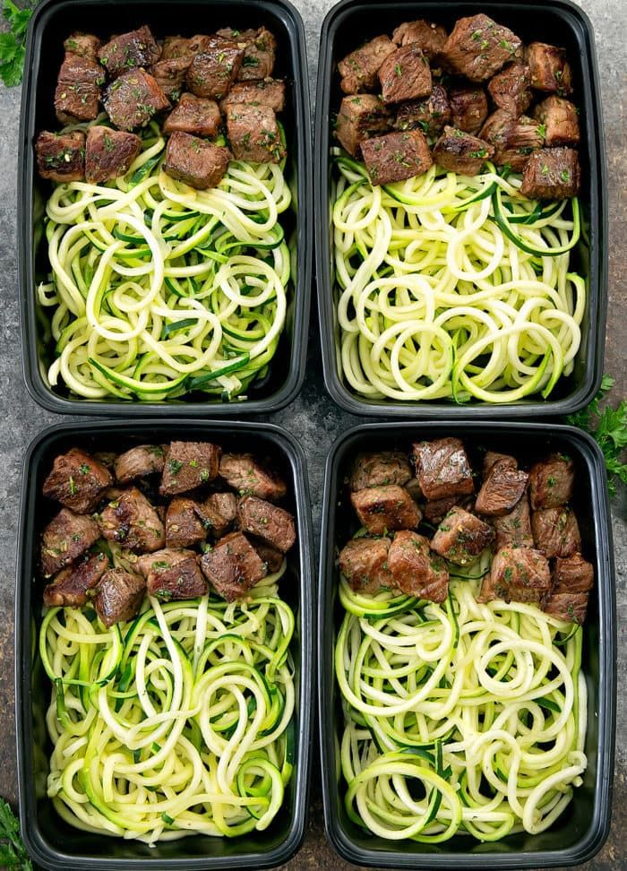 Photo of Garlic Butter Steak Bites with Zucchini Noodles Meal Prep