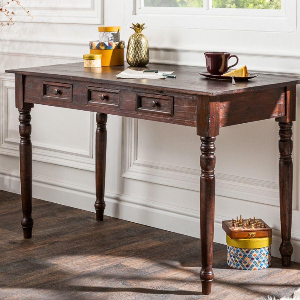 Eleganter Schreibtisch HEMINGWAY 120cm braun Mahagoni mit