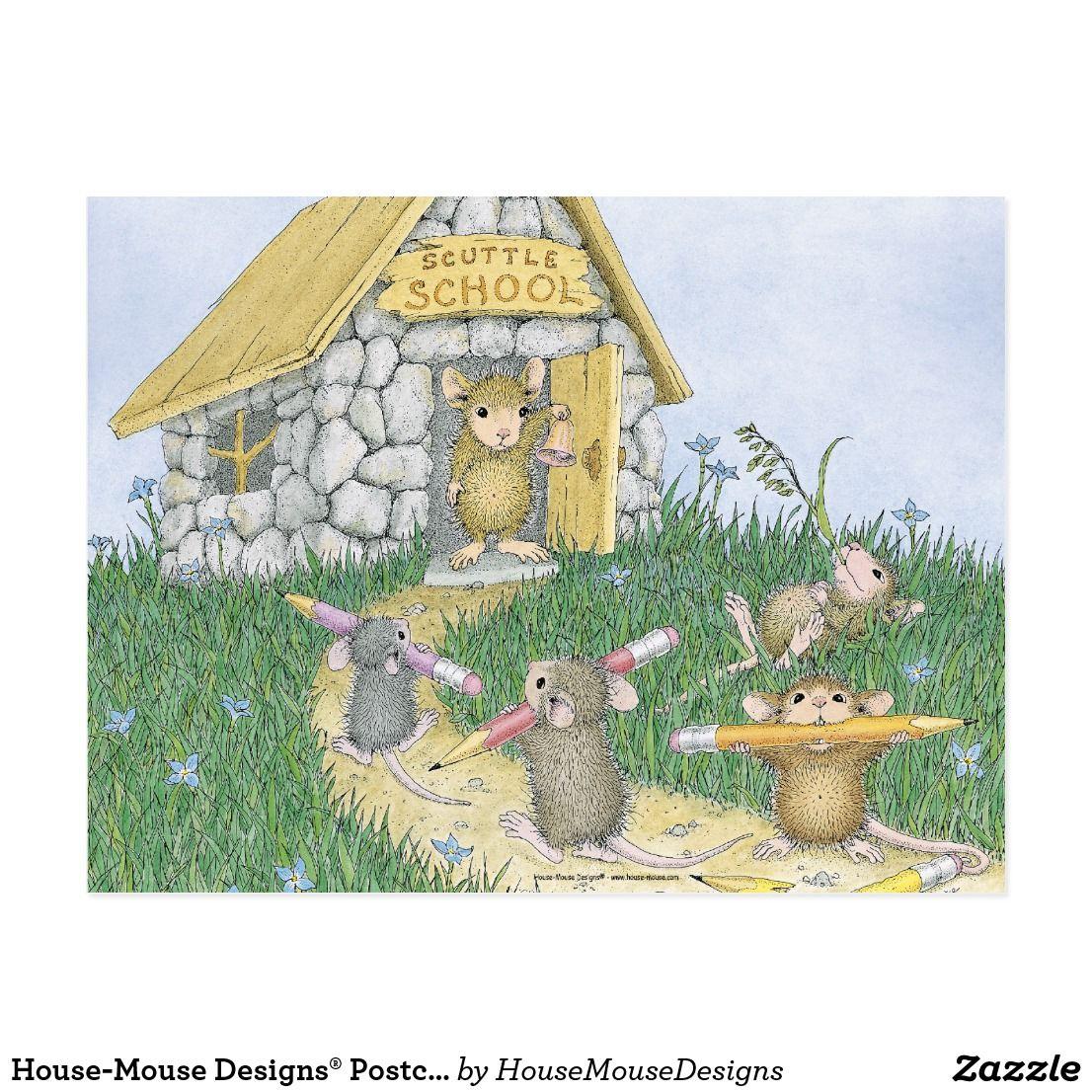 House Mouse Designs Postcard Zazzle Com Souris Mignonne