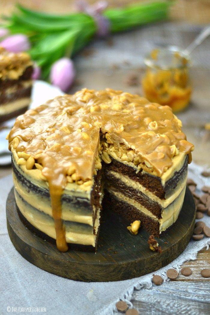 Erdnuss Karamell Schokokuchen Oder Snickers In Kuchenform Rezepte