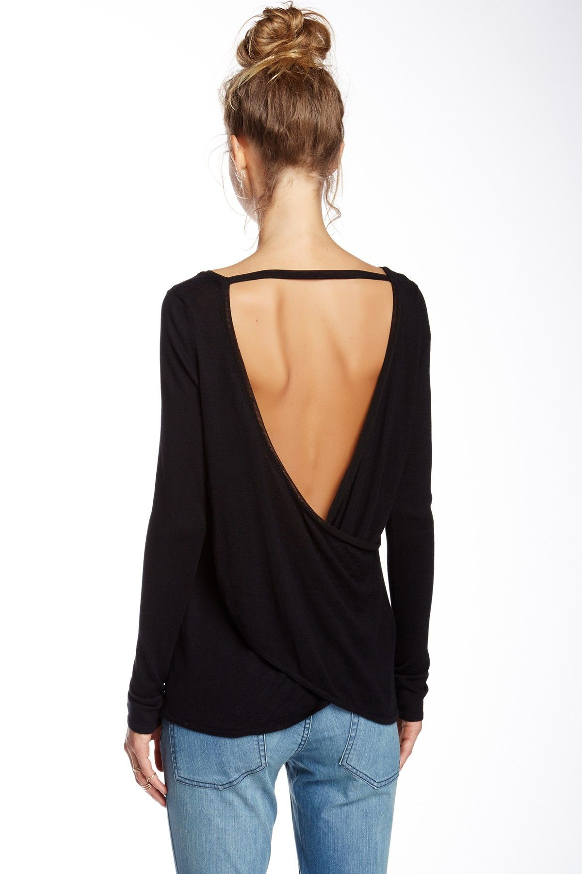 Black open back sweater. Keep it simple with this great trendy ...