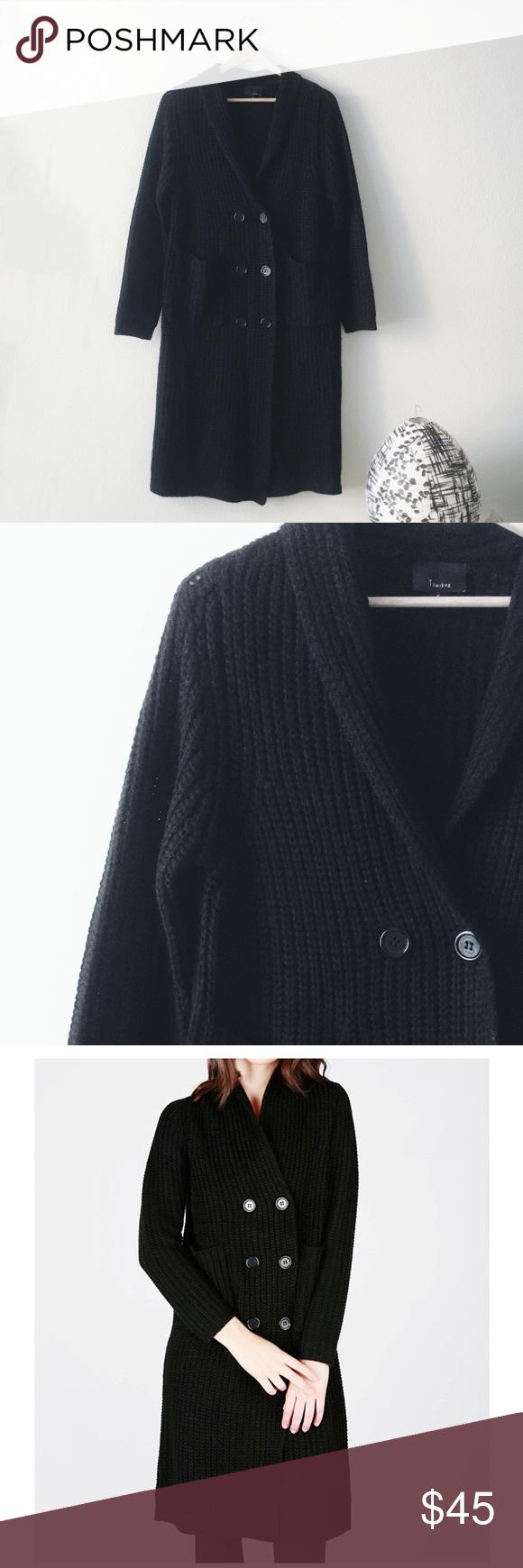 Basic black oversized double-breast long cardigan | Long cardigan ...