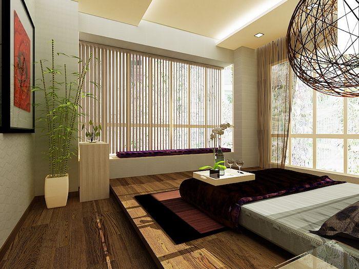 feng shui farben, schlafzimmer, pflanzn, bild, lampenschirm, teppich - ideen fur wohnzimmer streichen