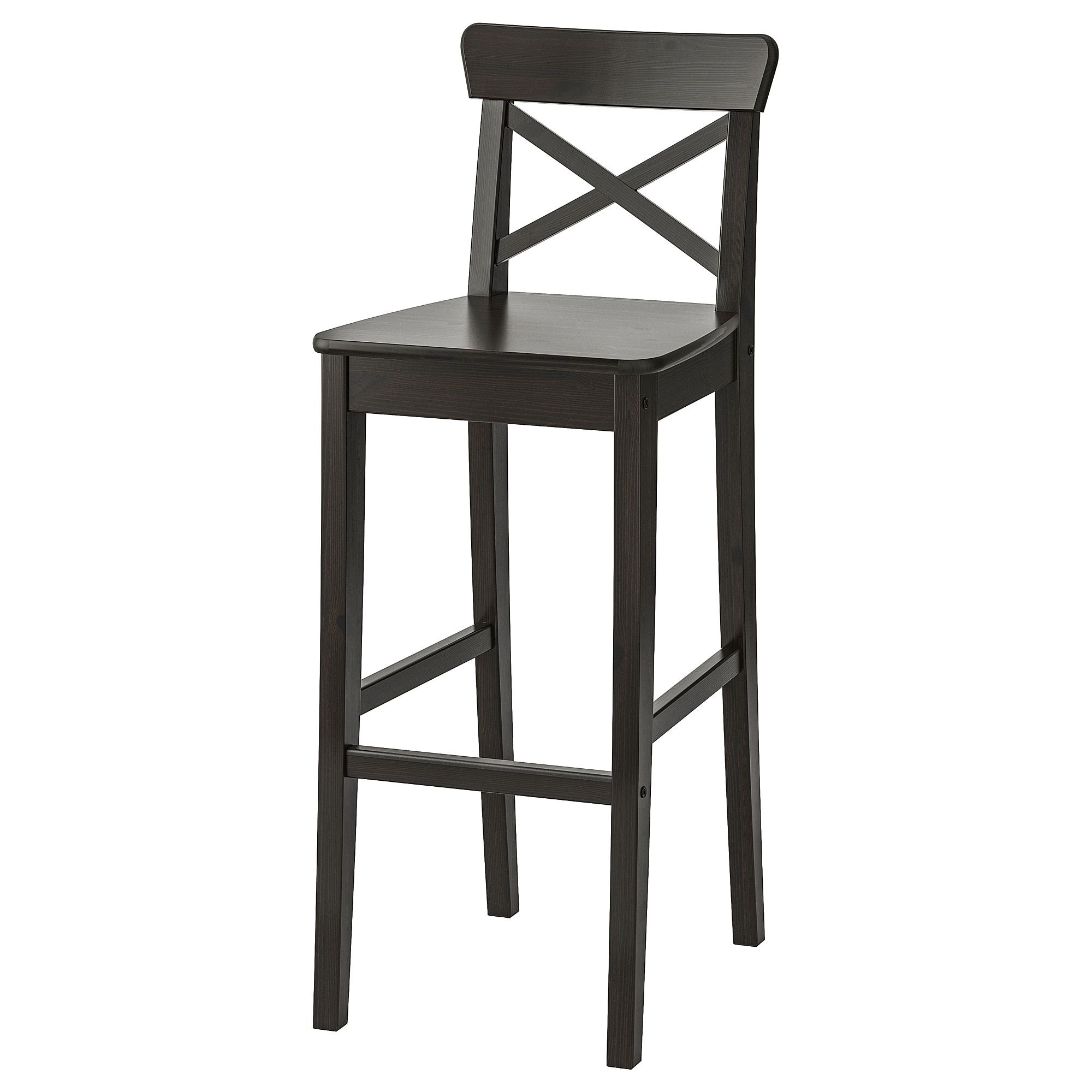 Ikea Ingolf Brown Black Bar Stool With Backrest Products In 2019