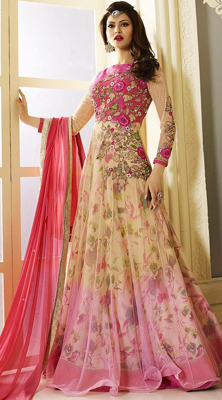 Urvashi rautela floral print party wear indian gown style suit