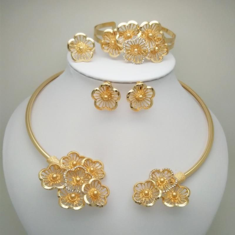 Nigerian Wedding Bridal Big Flower Jewelry Sets Dubai Gold Set Dubai Gold Jewelry Gold Jewelry Fashion Bridal Fashion Jewelry