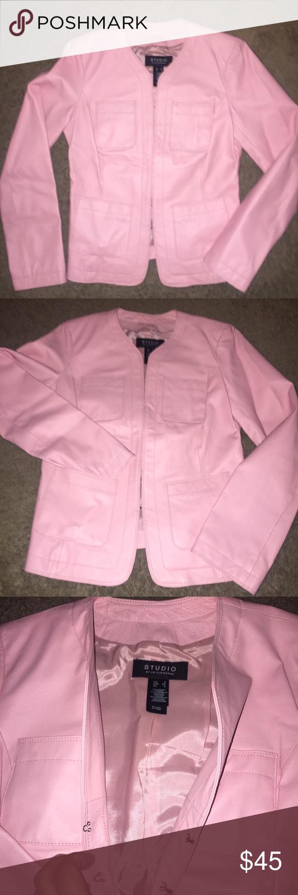 Studio By Liz Claiborne Leather Jacket Liz Claiborne Pale Pink Leather Jacket Hook And Eye Cliosure Fully Li Pink Leather Jacket Pink Leather Leather Jacket [ 1740 x 580 Pixel ]