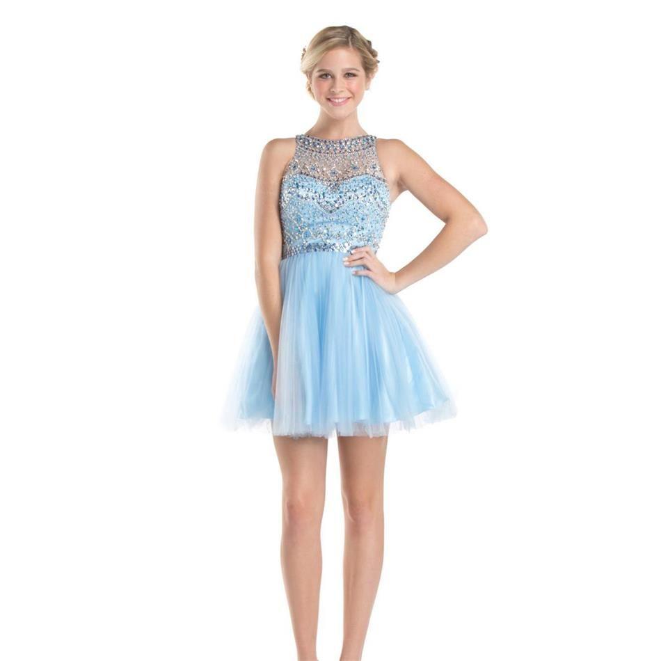2016 süße Kurze Licht Blau Homecoming Kleider Luxus Perlen ...