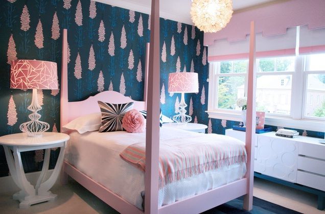 Interior Blue Teenage Rooms navy blue pink and white bedroom for 2 teen girls pink