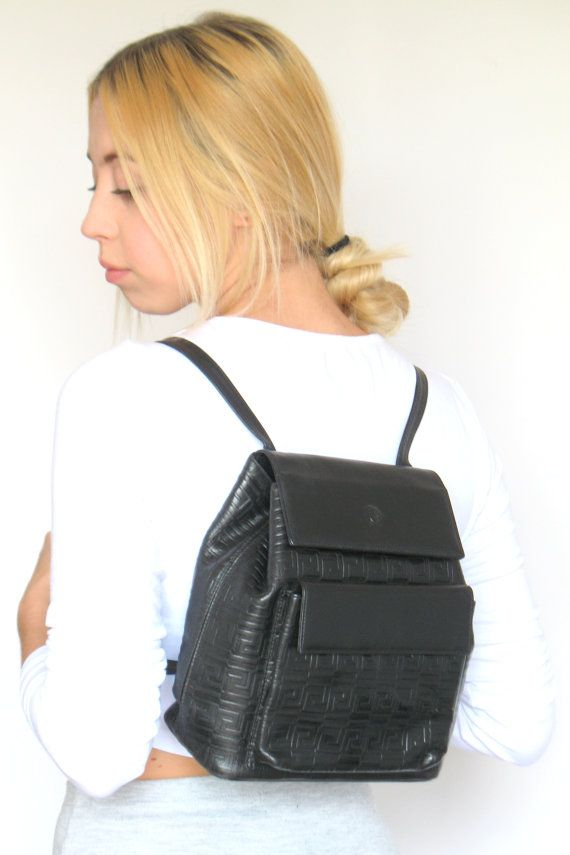 Vintage GIANNI VERSACE Couture Backpack Rucksack Black Leather Medusa  Patterned Authentic e26d328a0b4ab
