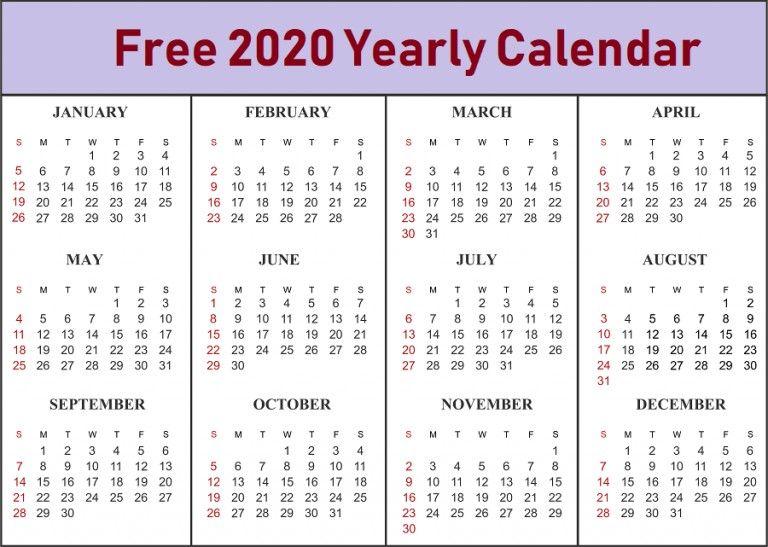 Online Printable Calendar 2020 Blank Template Download Printable