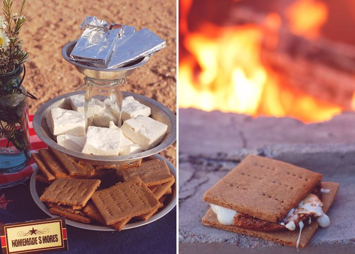 cowboy smores - totally brilliant to use pie tins and mason jars for a tiered server.