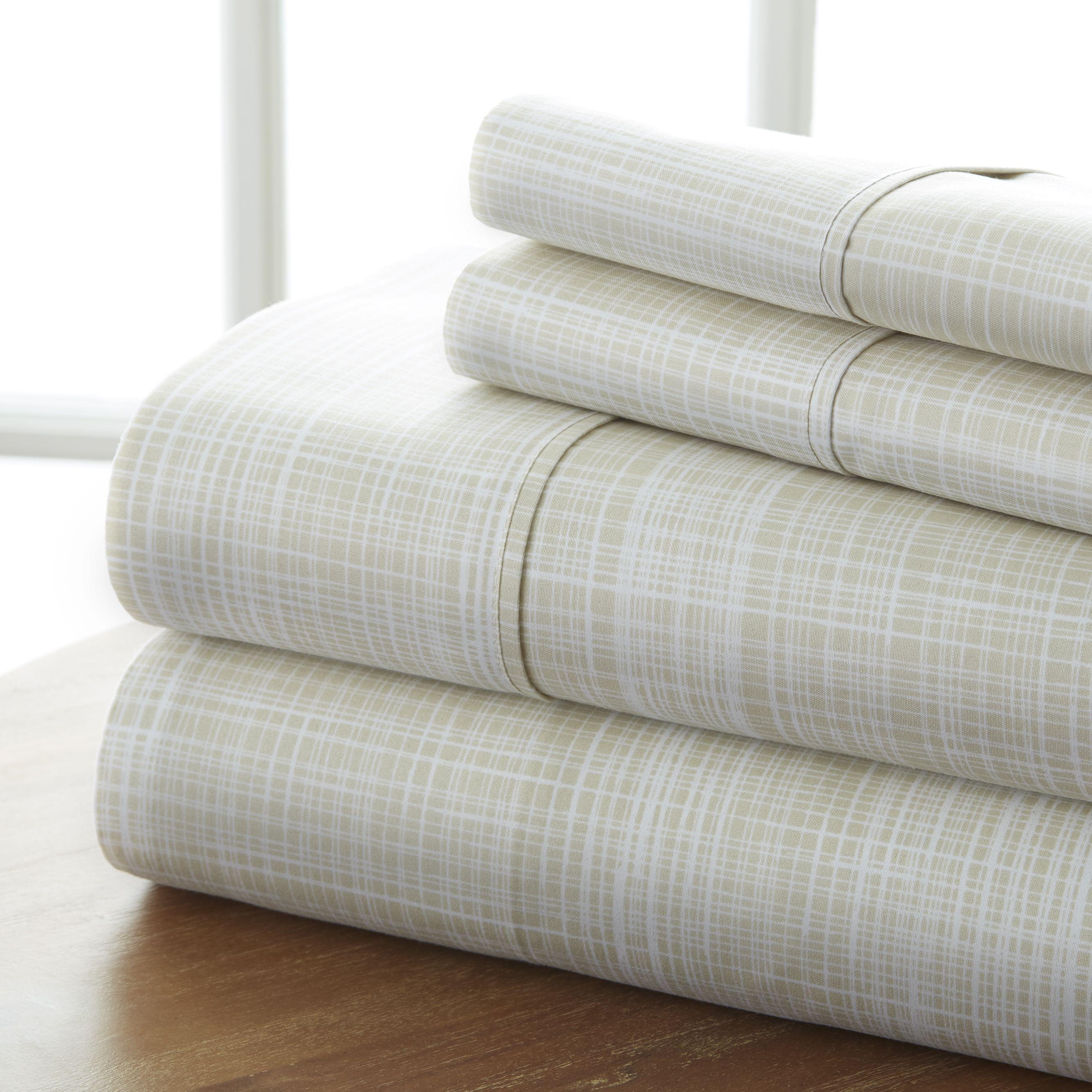 4 Piece Polka Dot Printed Sheet Set Ultra Soft Premium Hotel Collection