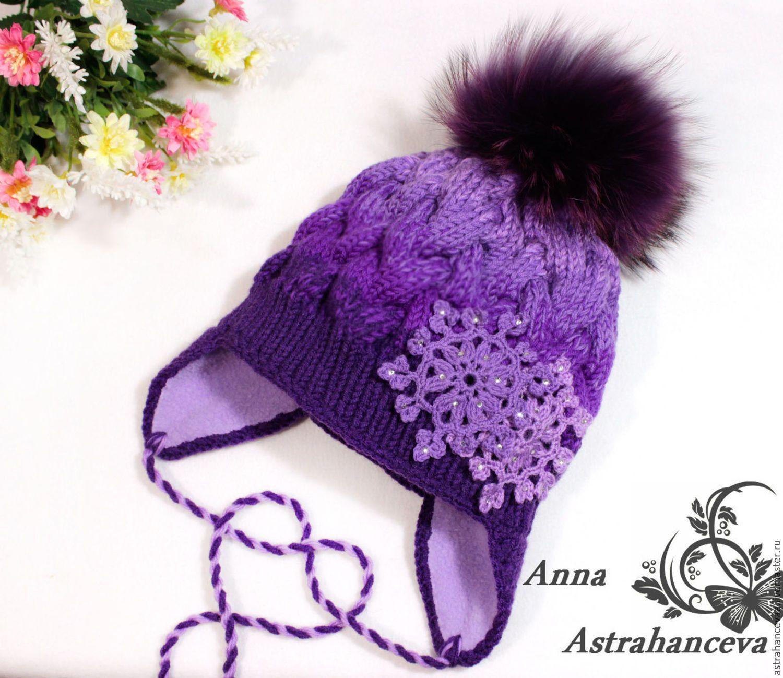 Купить шапочка вязаная для девочки