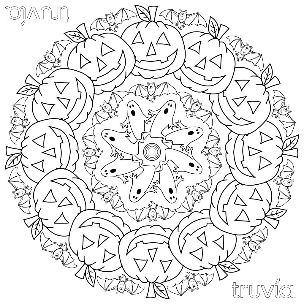 Mandala halloween fantasmi 1024 1024 for Free halloween mandala coloring pages