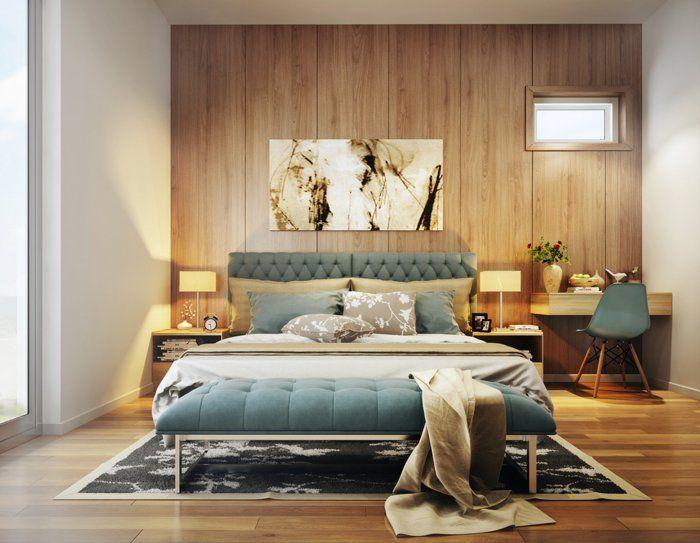 wandpaneele holz wohnideen schlafzimmer eleganter teppich, Hause deko