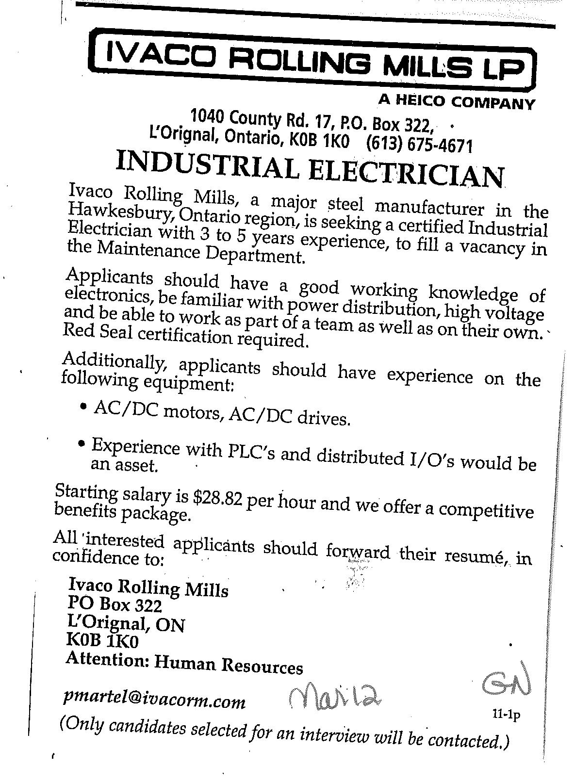 Industrial Electrician Job Poste Pour Electricien Industriel Electrician Rolling Mill Steel Manufacturers