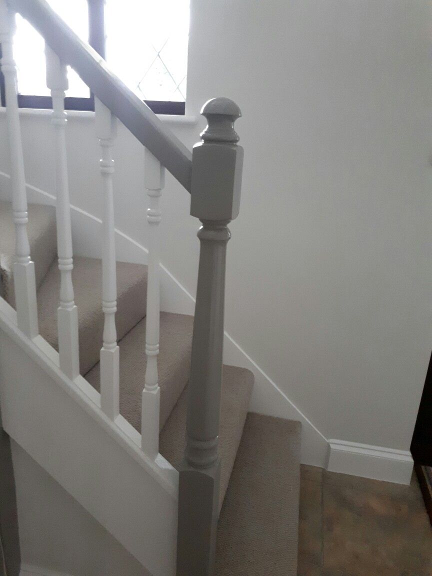 Grey And White Banister White Banister Banister Remodel Stair | Grey Banister White Spindles | Silver | Indoor | Pewter | Gloss | Wrought Iron