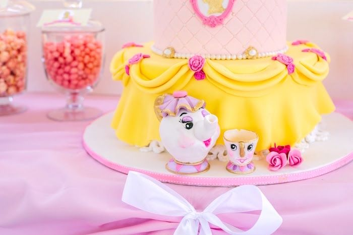Belle Birthday Decorations Mrs Potts And Chip Cake Decorations From A Princess Belle Beauty