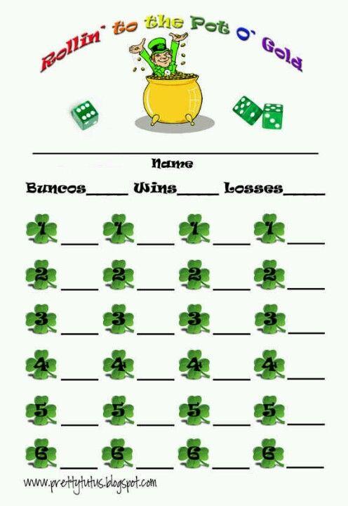 St Patrics day bunco cards Bunco Pinterest St patric - canasta score sheet template