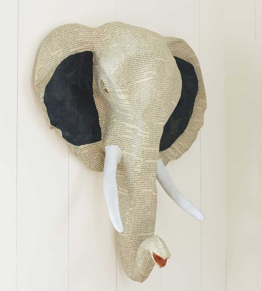 Papier Mache Elephant Head Wall Sculpture - VivaTerra | Nursery ...