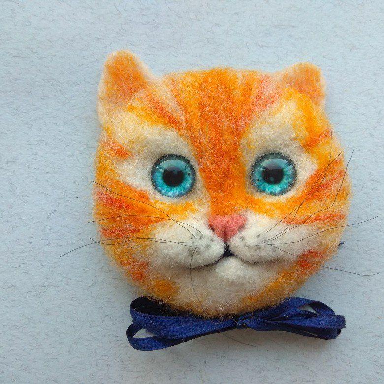 Felted brooch cat Felt cat, Needle felted cat, Animal pin