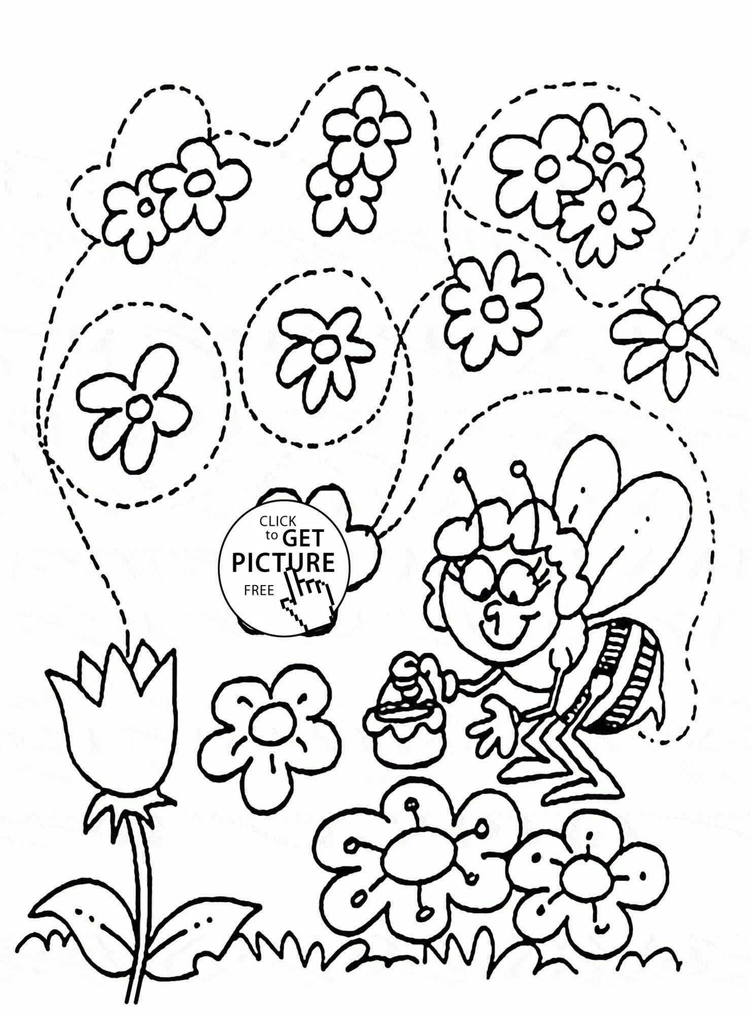 3 Spring Flowers Worksheet Printable Funny Bee And Flowers