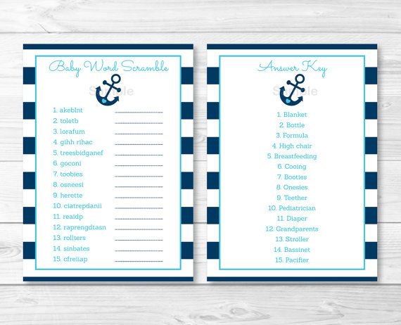 Anchor Baby Shower Word Scramble Anchor Baby Shower Nautical