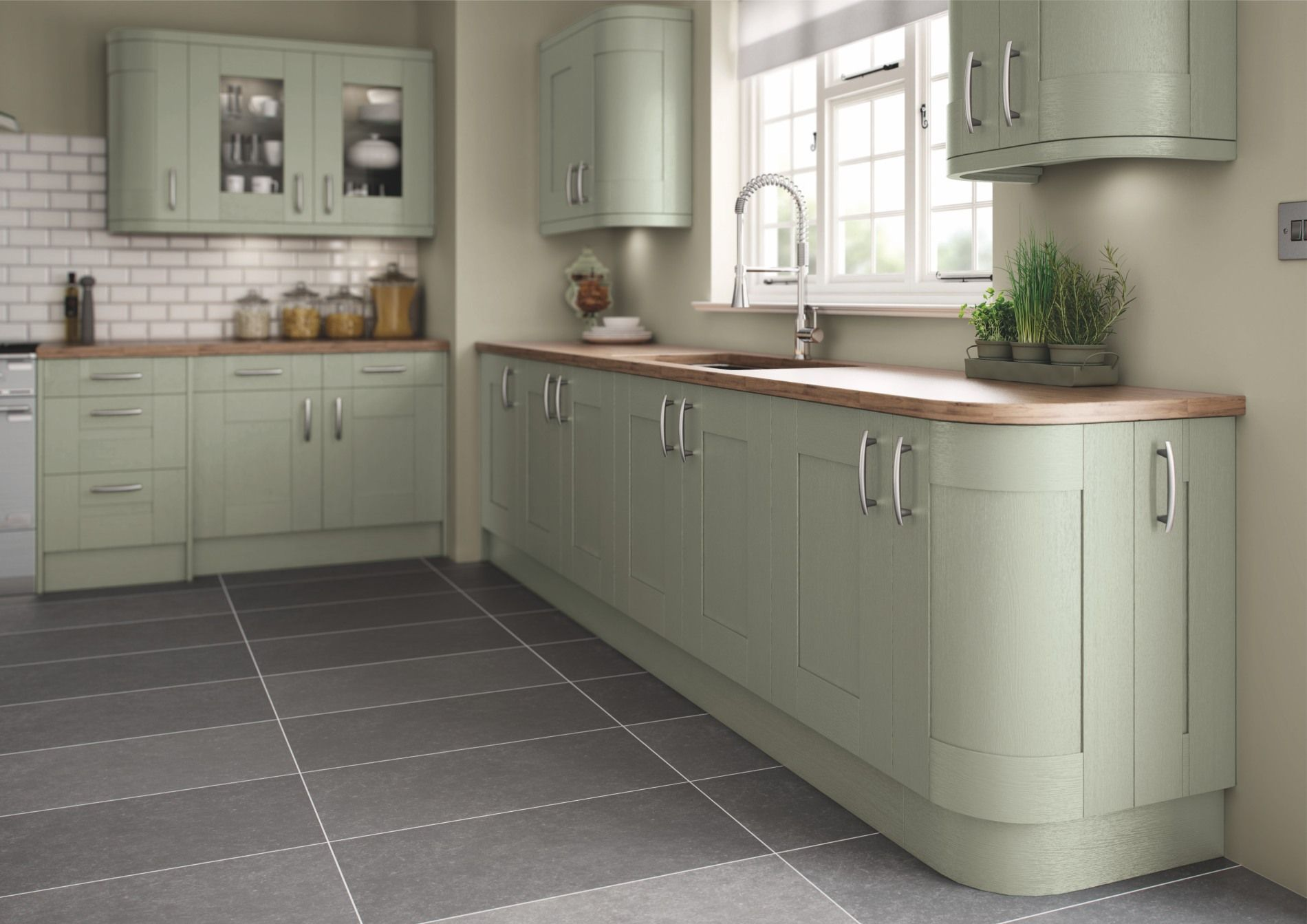 Green painted shaker kitchen | Green kitchen cabinets ...