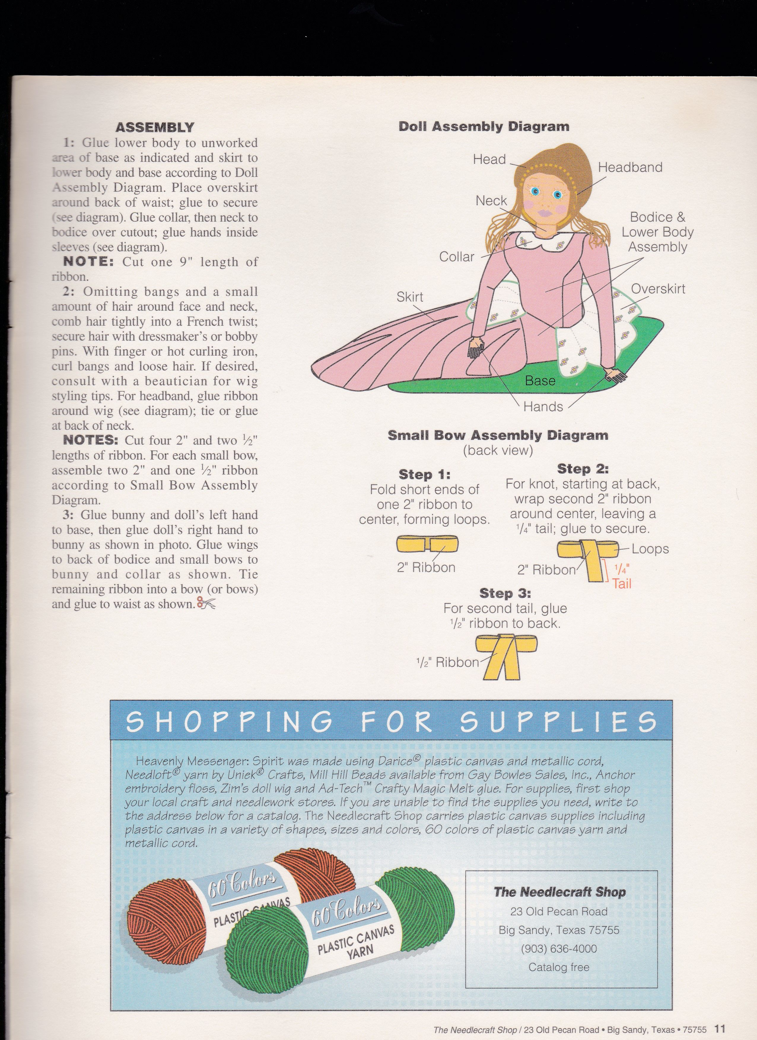 Patience Heavenly Messengers Angel Doll Plastic Canvas PATTERN//INSTRUCTIONS