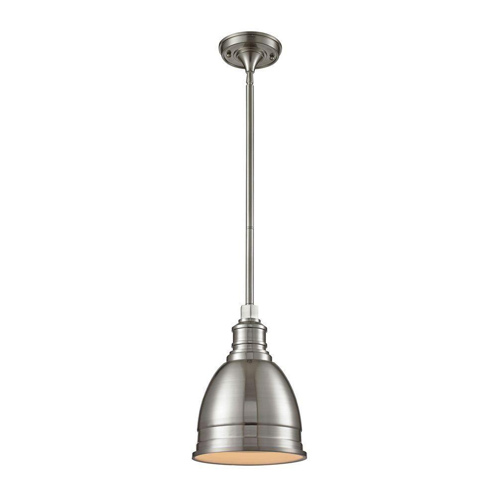 Titan Lighting Carolton 1 Light Brushed Nickel Pendant Glass Pendant Light Elk Lighting Pendant Lighting