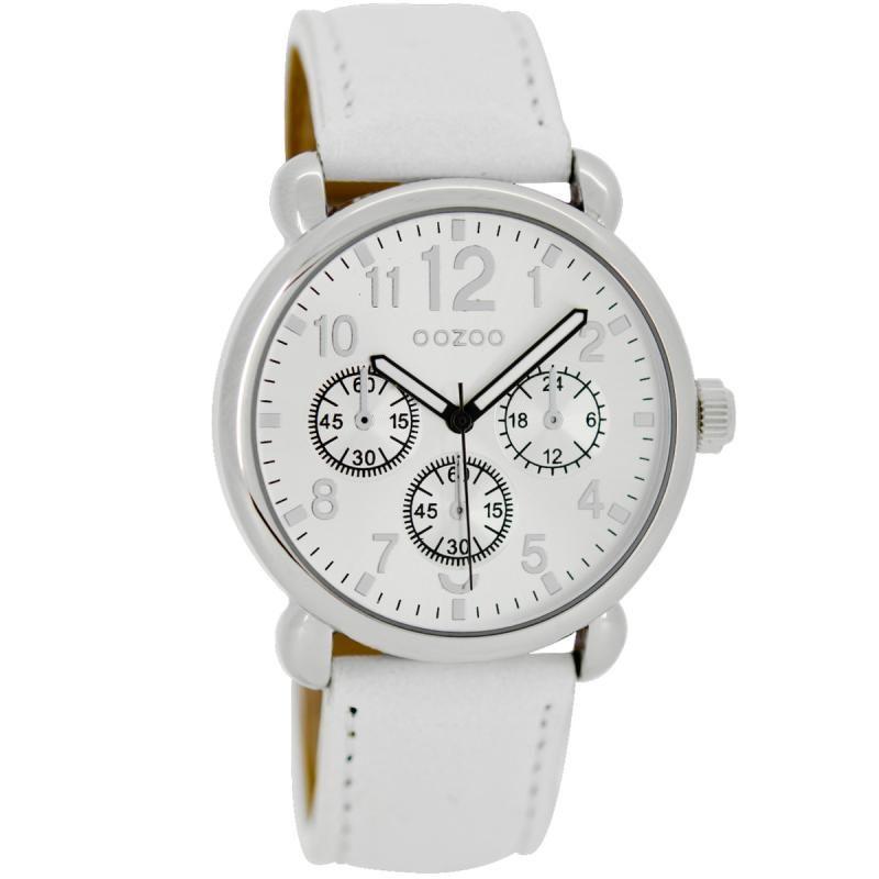 Ρολόι Oozoo Timepieces 38mm Silver Case  White Leather Strap - C6520 -  http    c12717ffeb4