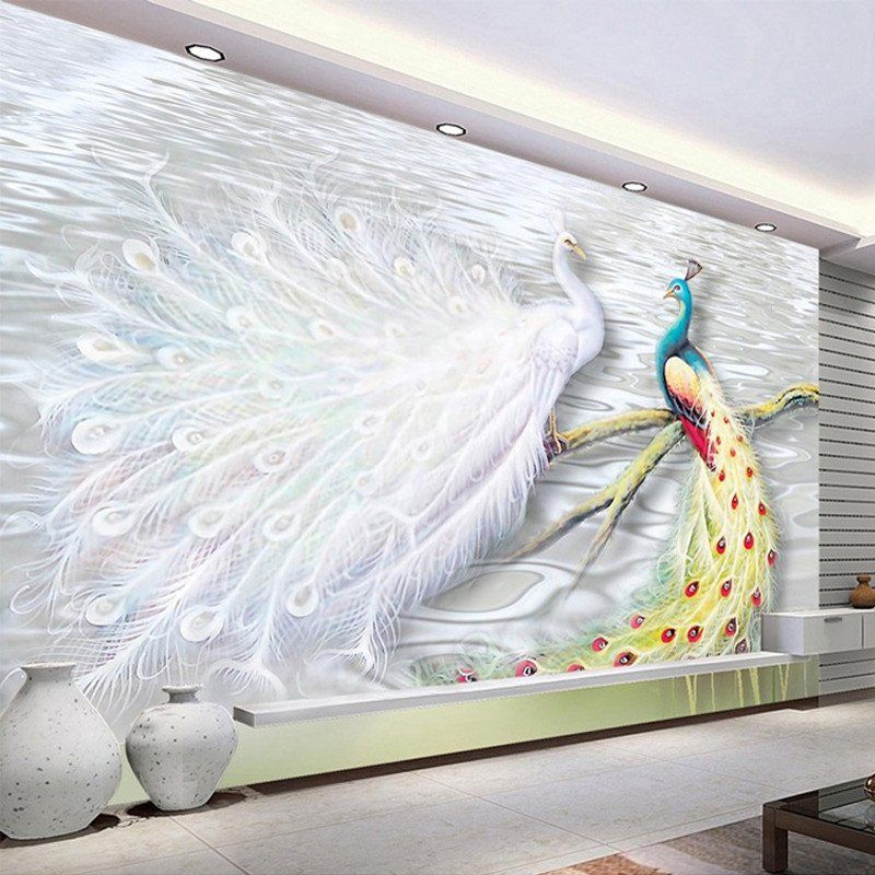 3D White Peacock Wall Mural Wall painting living room